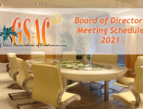 2021 Board of Directors Meeting Schedule